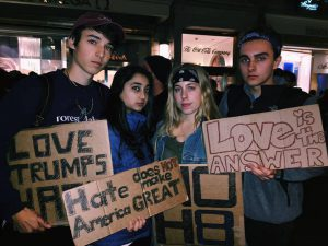 (From left to right) Vassar first-years William Dwyer, Sana Zaidi, Isabelle Hart and Sam O'Keefe protest Donald Trump's presidential election last Friday night at a rally in Manhattan. Photo courtesy of Mackail Liederman