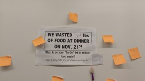 On Nov. 22, the pre-org Vassar Food Rescue (VFR) separated and measured the total poundage of food leftover at the All Campus Dining Center after just one dinner. Photo by Emily Sayer/The Miscellany News