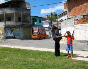 Children playing in the favela Cidade Tiradentes.