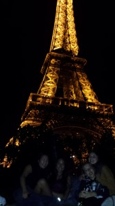 A truly Parisian night is spent in front of the Eiffel Tower.
