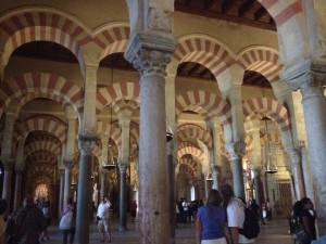 The beautiful arches of the Mesquita-Catedral in Cordoba.