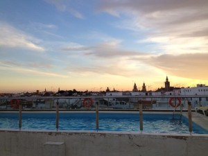 Our hotel's rooftop pool in Sevilla! There was a bar up there, too. The sunset was breathtaking.