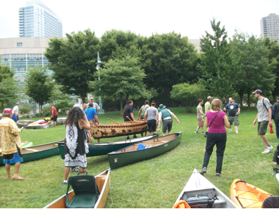 Canoes arrive at New York City, August 9th.