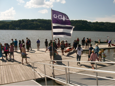 Paddlers arriving at Poughkeepsie, August 3 – halfway down the Hudson.